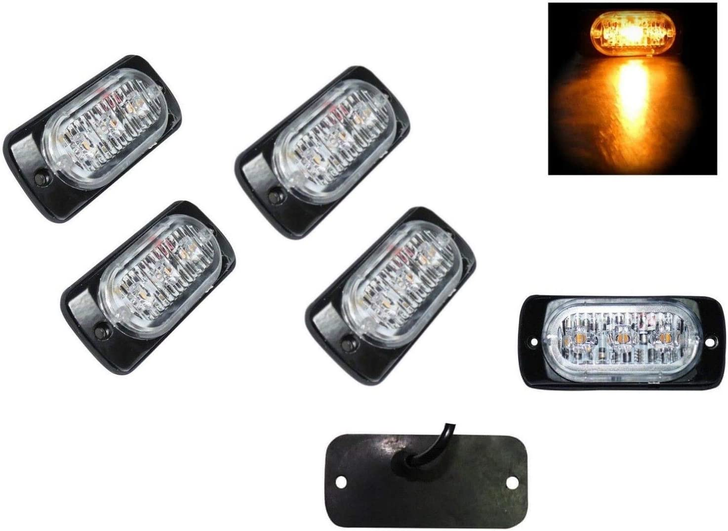 flexzon 4x 3 LED strobe flashing recovery lightbar 12V amber truck beacon lights 12V 24V