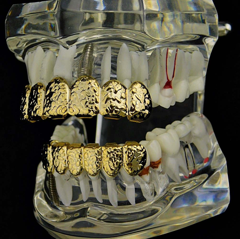 Nugget Grillz Set 14k Gold Plated Top & Bottom Teeth 12 PC Slugs Hip Hop Mouth Grills by Best Grillz (Image #4)