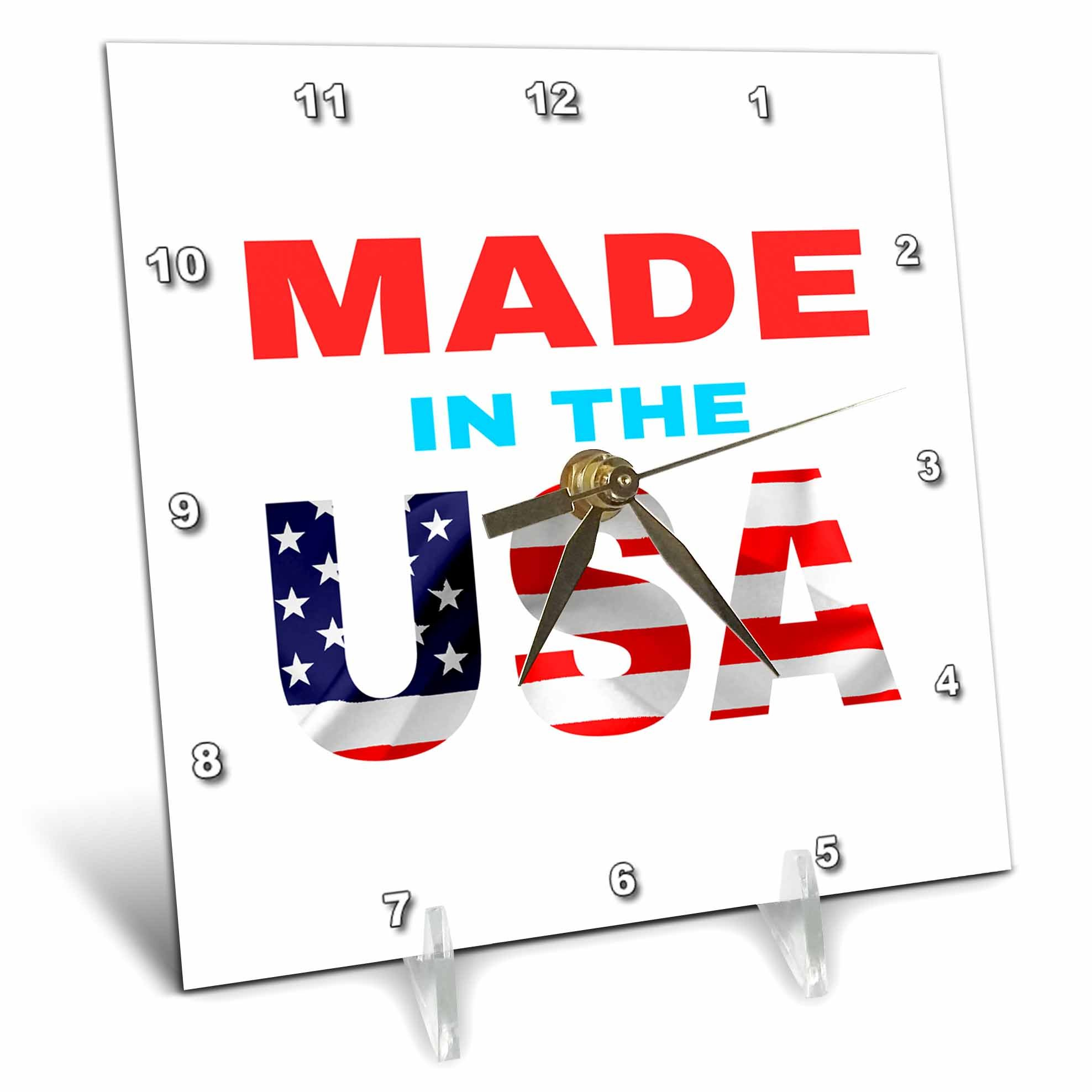 3dRose Alexis Design - America - Made in the USA text. Flag over the USA. White background - 6x6 Desk Clock (dc_270545_1)