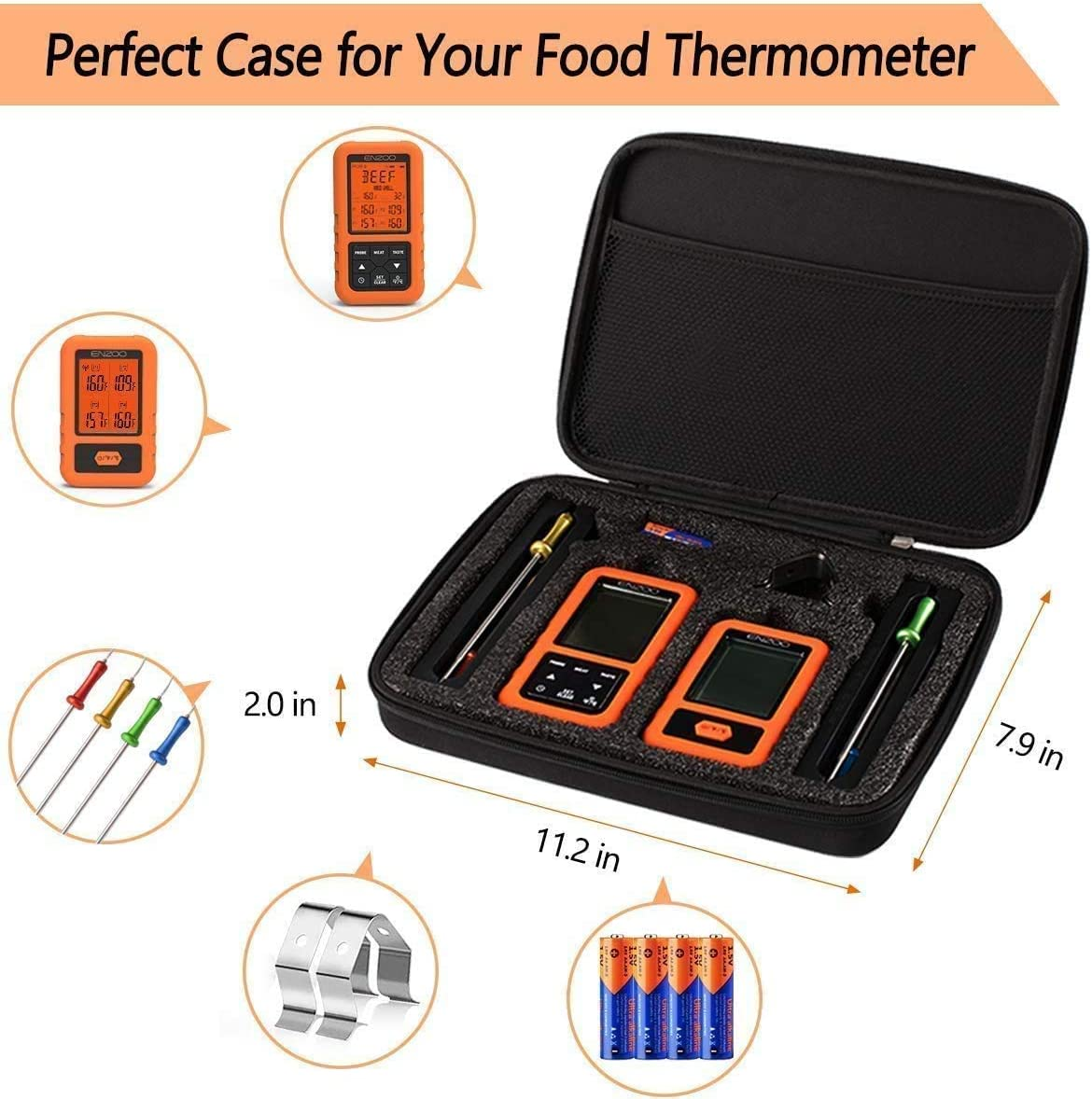 ENZOO Wireless Meat Thermometer for Grilling, Ultra Accurate & Fast Digital Meat Thermometer for Smoking with 4 Probes, 500FT 178° WideView Meat Thermometer for Smoker, BBQ, Carring Case Included: Industrial & Scientific