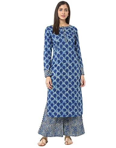 Jaipur Kurti Indigo Printed Kurta with Palazzo Trousers at amazon