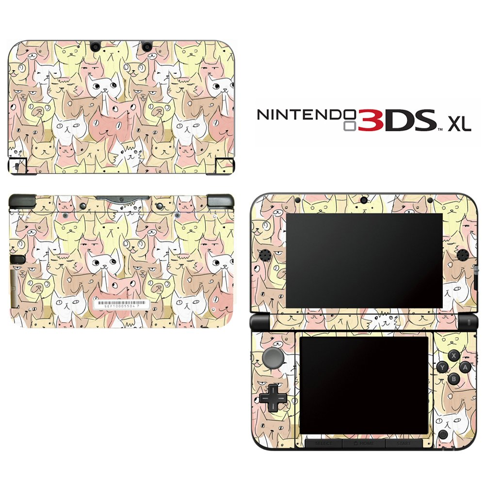 Kitty Cat Pattern Decorative Video Game Decal Cover Skin Protector for Nintendo 3DS XL