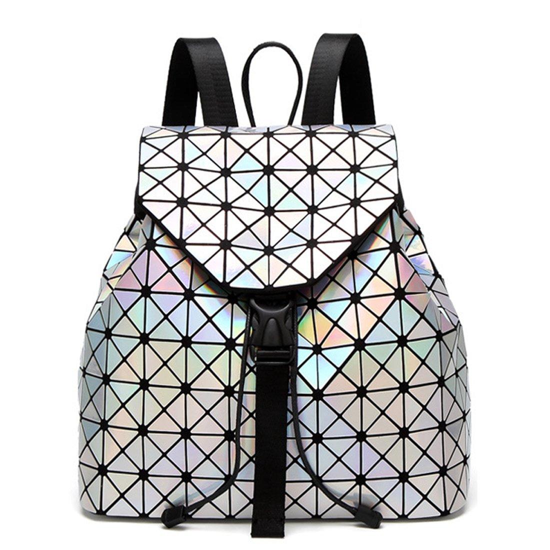 KAXIDY Sac à Dos Cartable Géométrique Lumineux Rhombe Laser Sequins Sacs à Dos Loisir (Style-01) KS61419