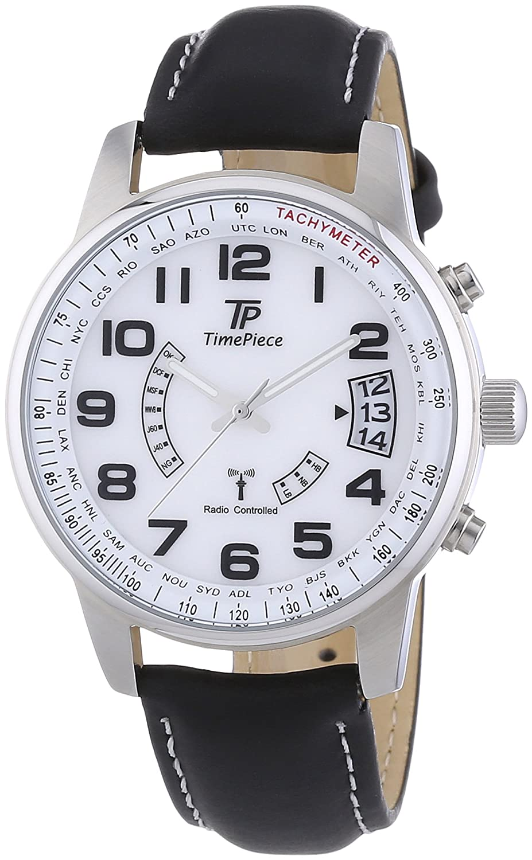 Time Piece Herren-Armbanduhr XL Funk Analog Quarz Leder TPGS-10286-12L