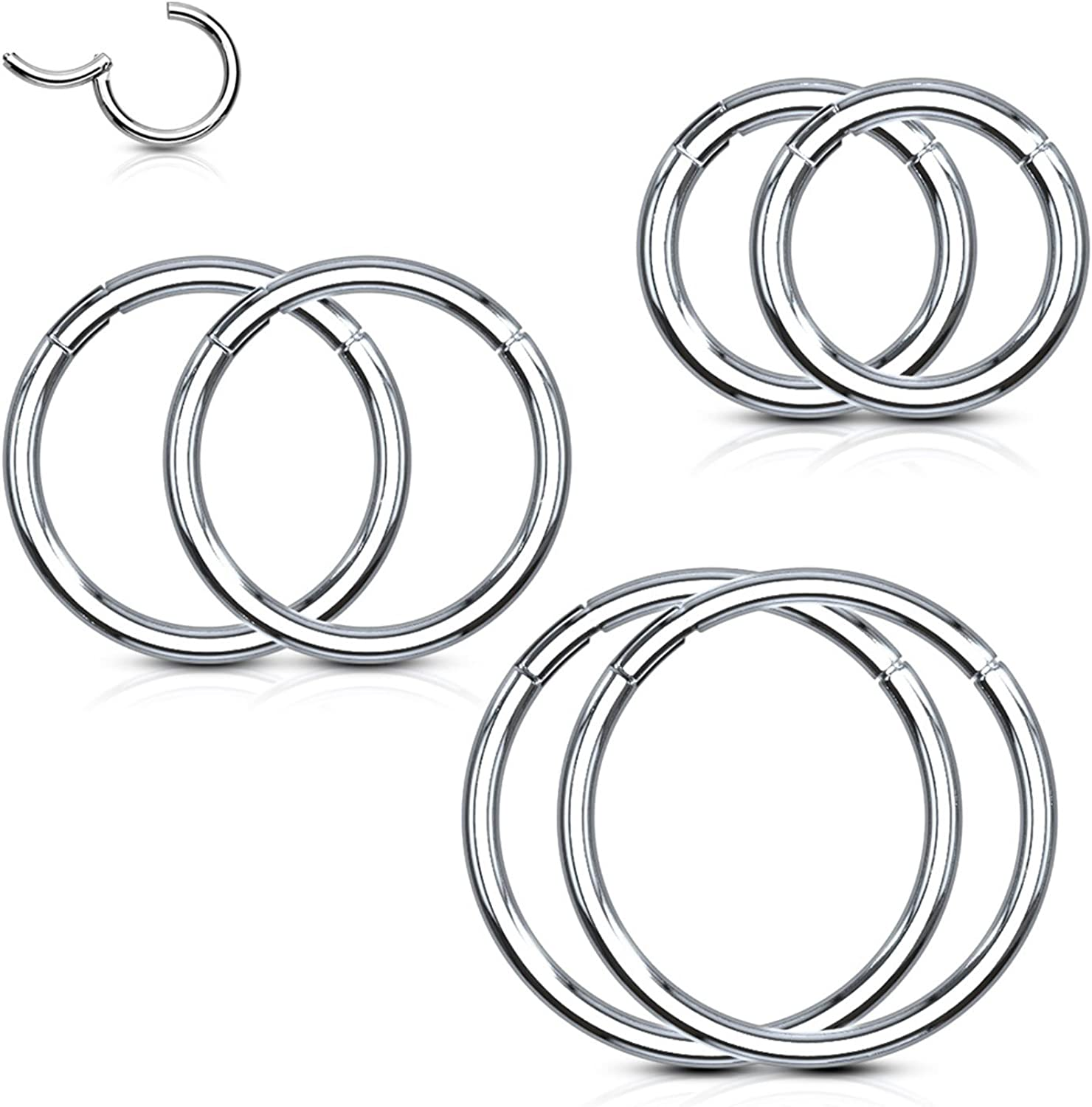 16g Removable Piece1.2mm Segment Ring Hoop - 6mmStainless Steel