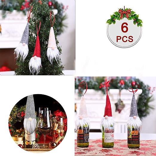 Aytai 6pcs Felt Christmas Gnomes Wine Bottle Topper Cover Handmade Swedish Tomte Decorative Wine Bottle Toppers Dress for Holiday Gift Christmas Decorations