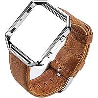 MroTech Horlogeband Lederen Armband compatibel voor Fitbit Blaze Smartwatch Reserveband Leer Kijk Horloge Watch Band met Frame Polsband Wisselarmband Polsband-Bruine band/zilveren gesp/zilveren frame