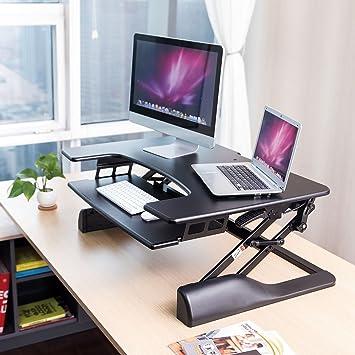 factory price 6bf86 5bd6a Dihl Adjustable Height Desk Sitting Sit Stand Standing Computer Riser  Desktop Workstation Ergonomic