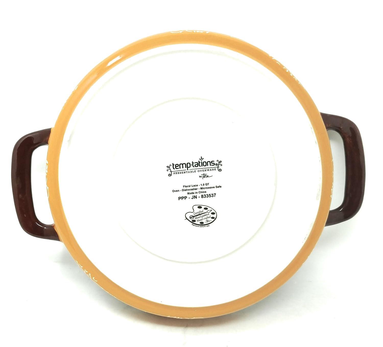 Temp-tations 9 x 1.75 Tart w//Handles Deep Dish Pizza Pan or Shallow Pie//Quiche 1.0 Quart Checked Old World Confetti