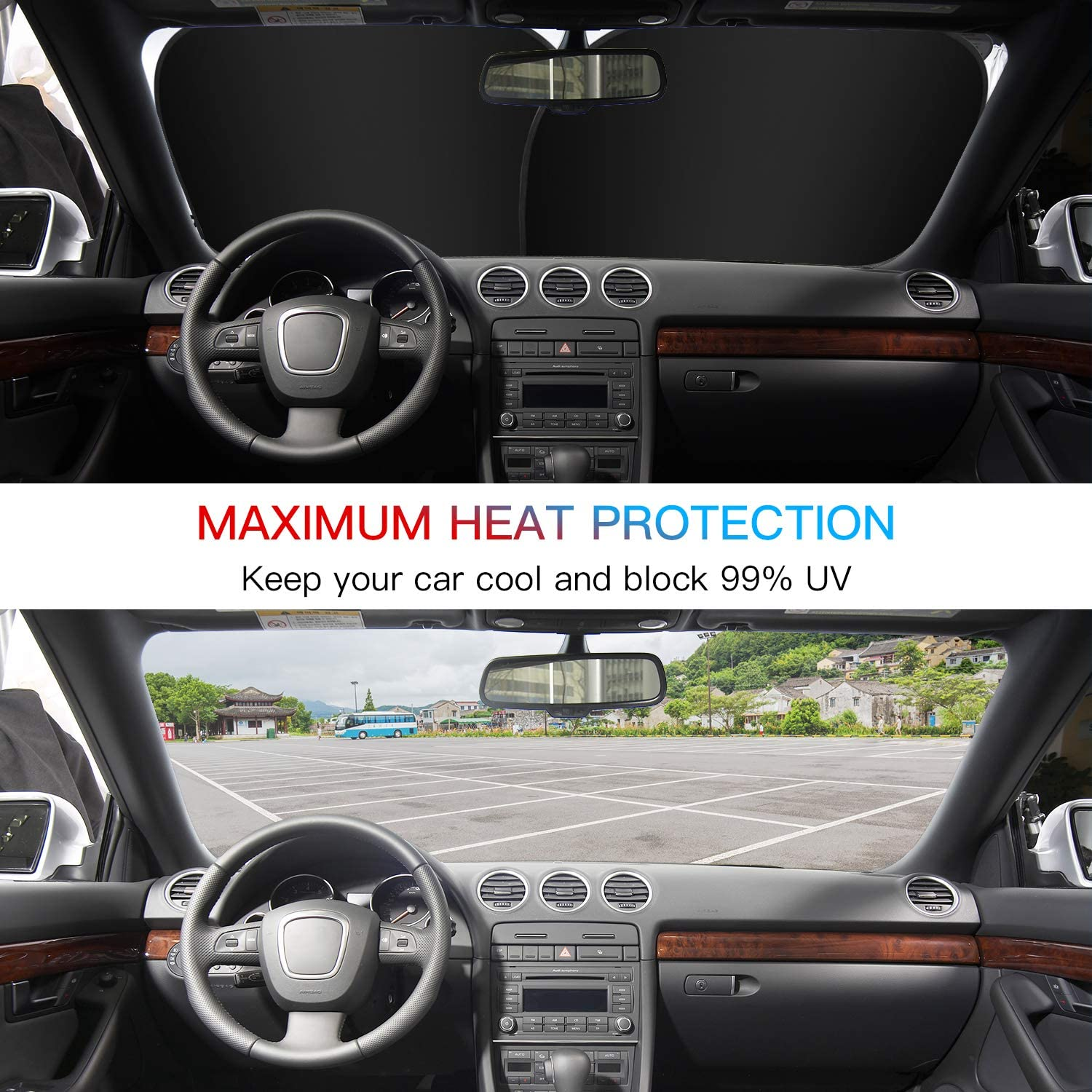 Kribin 2 Pack Windshield Sunshade Keep Your Vehicle Cool 2020 Upgraded Car Windshield Sun Shade for UV Protection and Heat Reflector