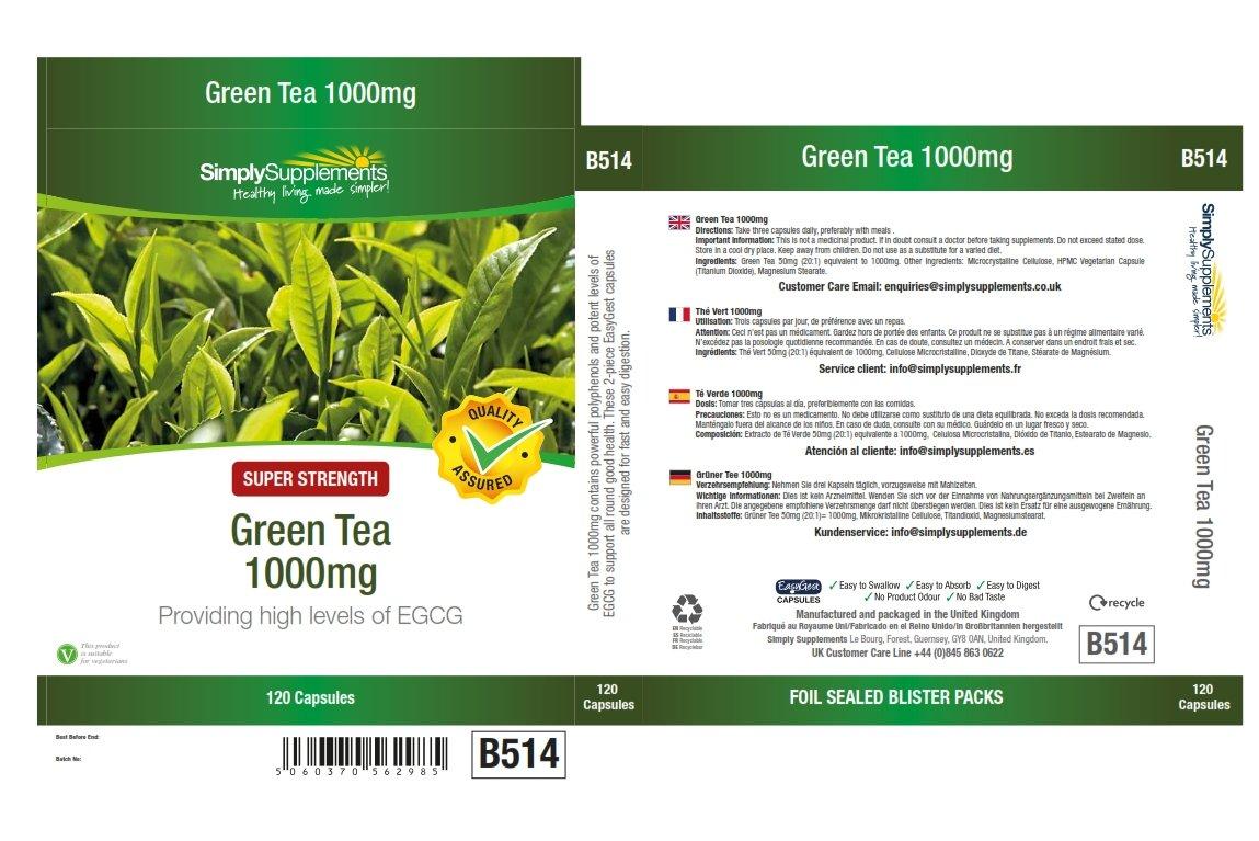 Té Verde 1000 mg - 120 cápsulas - Hasta 40 días de suministro - Favorece la pérdida de peso - SimplySupplements