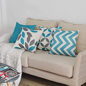 pendali Throw Pillow Covers 18x18, Decorative Square Throw Pillow Cover Cushion Covers Pillowcase, Home Decor Decorations for Sofa Couch Bed Chair Car, Set of 4