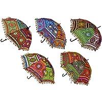 Ekam Art Sun Protection Rajasthani Handicraft Walking Stick Multicolour Umbrella Navratri Decoration Items - Pack of 5 Pieces