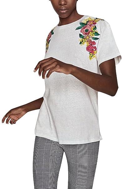 Monika Verano Mujeres Tops Casual Cuello Redondo Manga Corta Camisetas Blusa Moda Bordado Costura tee Remata