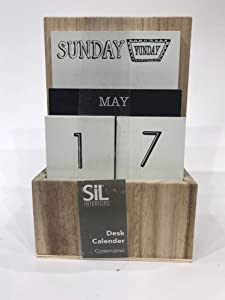 Sifcon Wooden Easy to Use Block Desk Top Calendar -Perpetual Desk Calendar