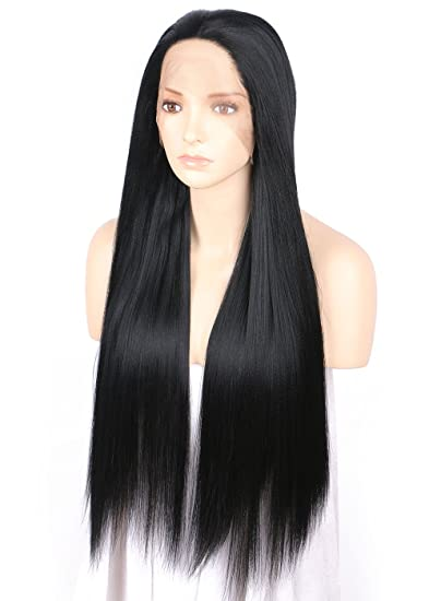 TANYAWIGS Relaxed Light Yaki Straight Thick Hair Lace Front Wig Long  Fashion Style High Grade Heat 406783469b2b