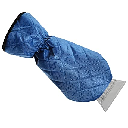 Carry Pouch Ice Scraper Mitt For Car Windshield Snow Scrapers with Waterproof Glove Lined of Thick Fleece Blue