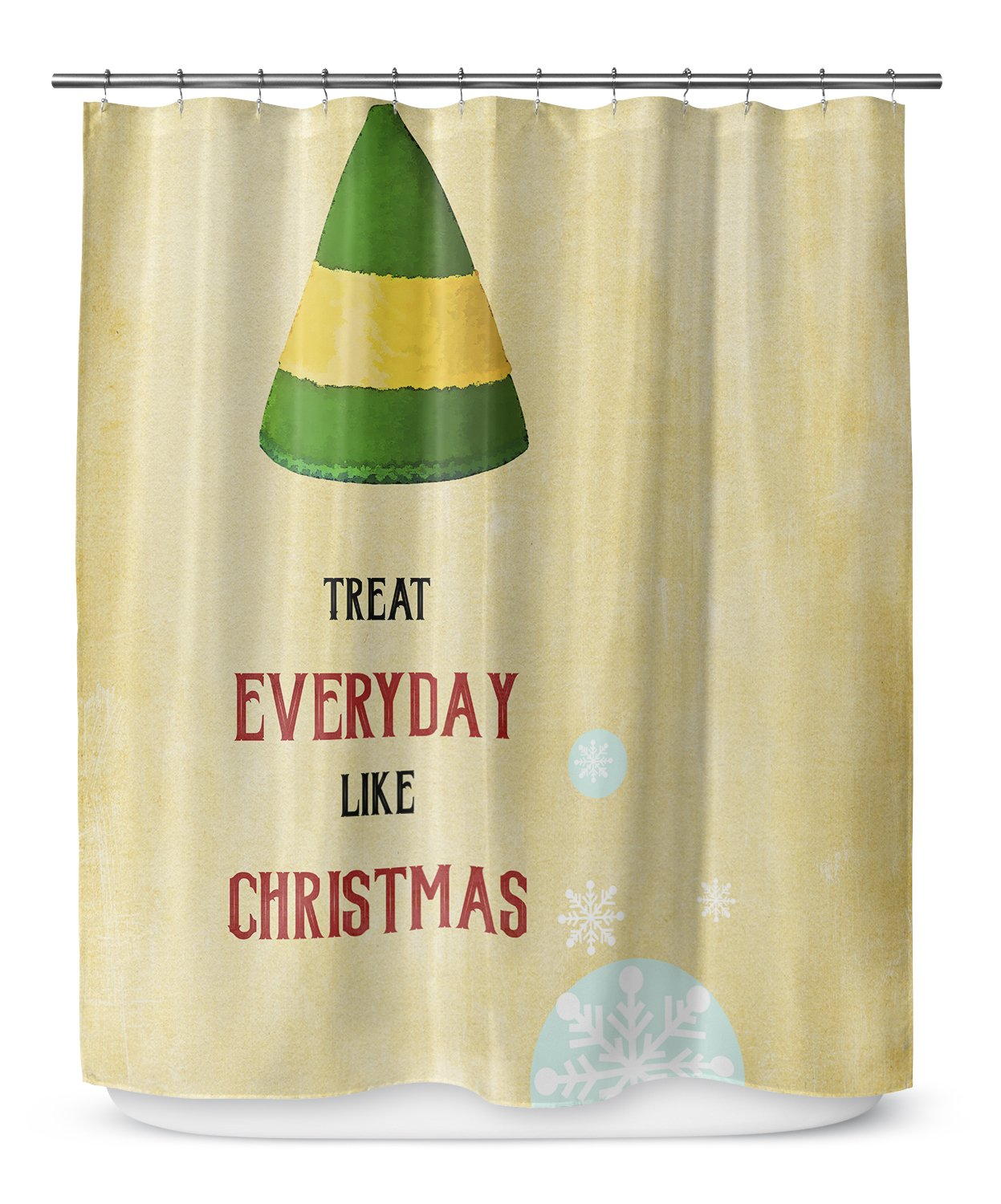 KAVKA DESIGNS Everyday Christmas Shower Curtain, (Gold/Red/Green) - TRADITIONS Collection, Size: 70x90 - (TELAVC1046LPLSC)