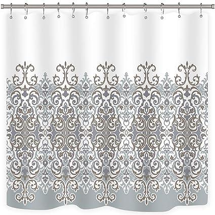 Amazon Cdcurtain Tan Turquoise White Shower Curtain Set Damask