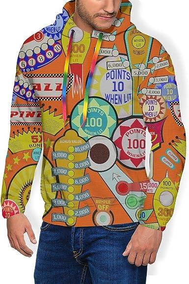 Zachary Sherman Pinball Orange - Sudadera para Hombre con Capucha y Sudadera Acolchada de Terciopelo con Capucha y Camisa Casual con Bolsillo Negro XXL: Amazon.es: Ropa y accesorios