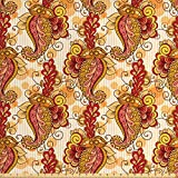Asian Decor Fabric by the Yard by Ambesonne, Traditional Asian Paisley in Colors Floral Ornamental Religious Cultural Art, Decorative Fabric for Upholstery and Home Accents