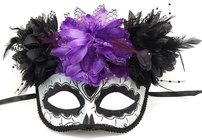 Dia De Los Muertos Multicolor Sugar Skulls Mask With Flowers Women/'s Couples Day Of The Dead Masquerade Mask Festival Masquerade