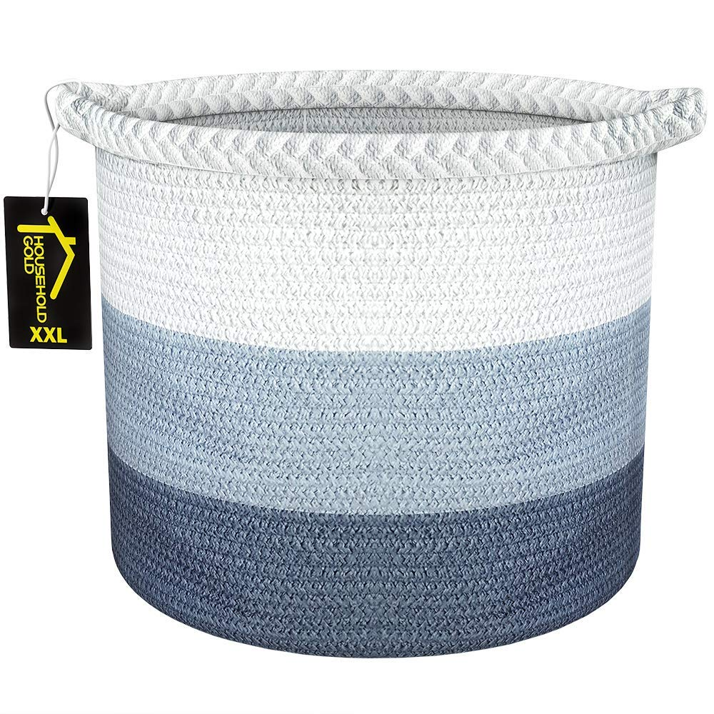 "Extra Large Woven Laundry Rope Basket | Cotton Basket with Unique Braid | 17"" by 14"" Toy Basket & Blanket Storage"