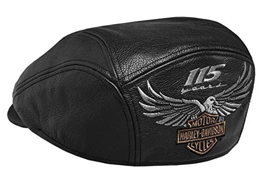 Harley-Davidson Mens 115th Anniversary Eagle Black Leather Ivy Cap  99417-18VM (Small 205590b6451