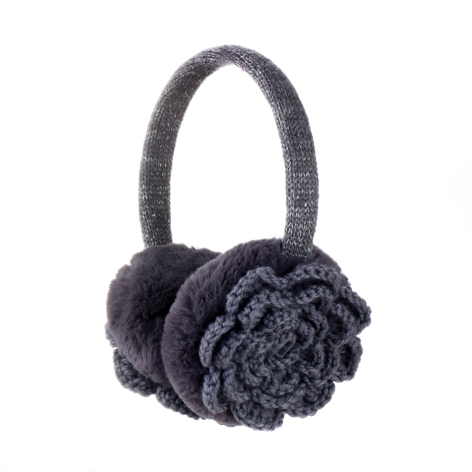 Sudawave Women Girls Winter Warm Crocheted Knitted Flower Faux Fur Plush Earmuffs