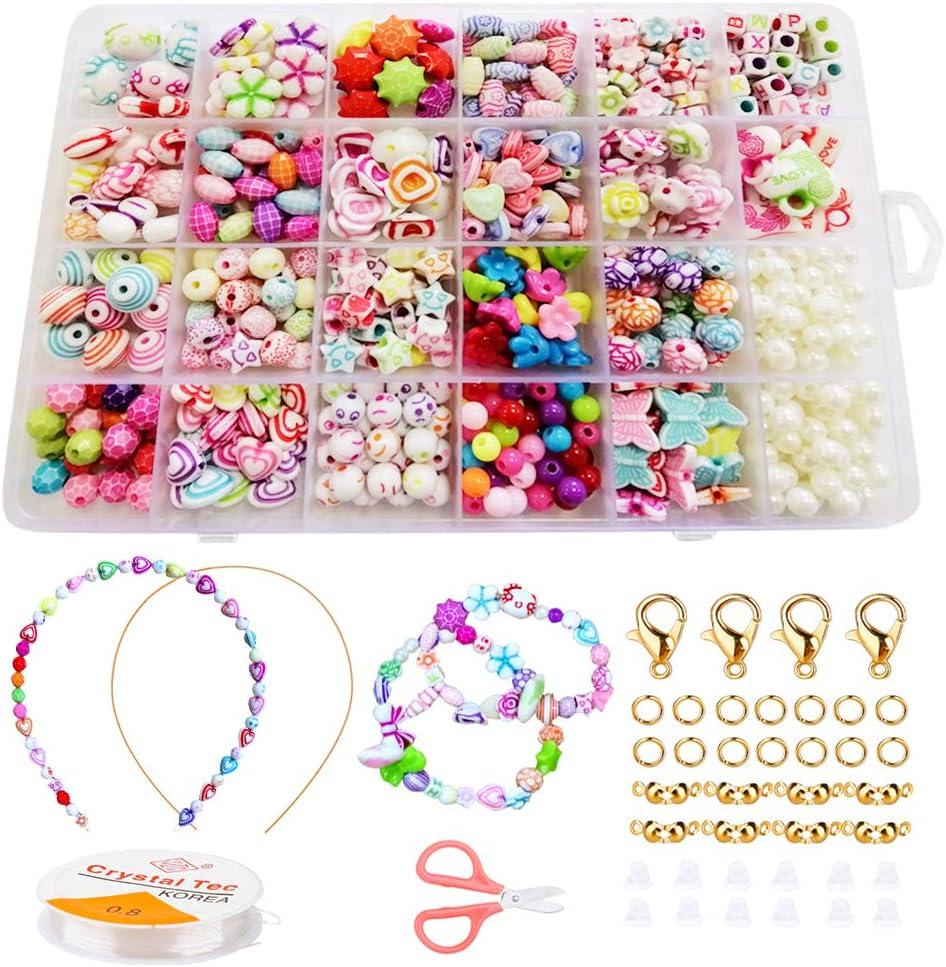 BLAZOR Pulsera DIY Haciendo Kit, Niños Bricolaje Perlas para Collares Pulsera de joyería, Pulseras Joyas DIY para niños niña Regalo, Cuentas para la fabricación de Joyas para niños
