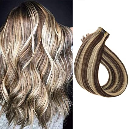 Tape In Hair Extensions 18 Seamless Skin Weft Remy Human Hair Dark Brown To Bleach Blonde 40grams 20pcs