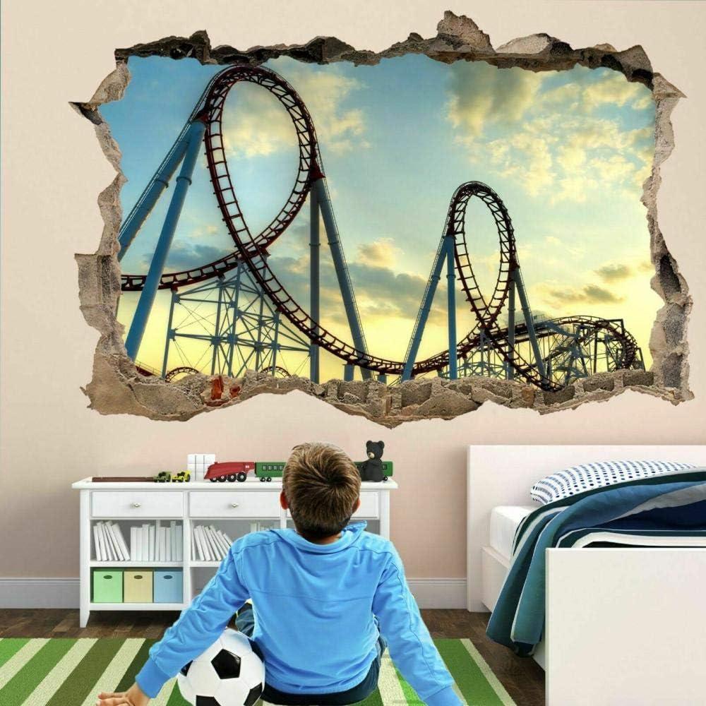 BFLOF Wall Sticker Roller Coaster Ride 3D Wall Art Sticker Mural Poster Kids Room Home Decor 50×70cm