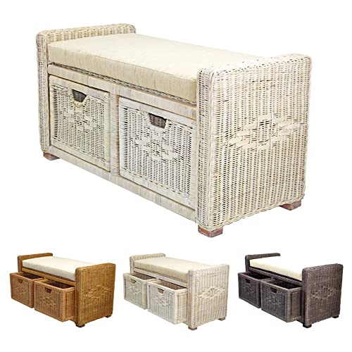 Rattan Wicker Bruno Handmade 35 Chest Storage Trunk Organizer Ottoman Two Drawers White Wash