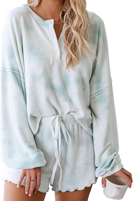 Details about  /Women Tie-Dye Printed Short Pants Long Sleeve Tops 2 Piece Pajamas Set Sleepwear