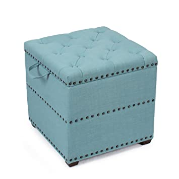 Terrific Amazon Com Asense Blue Square Fabric Ottoman With Tray Alphanode Cool Chair Designs And Ideas Alphanodeonline