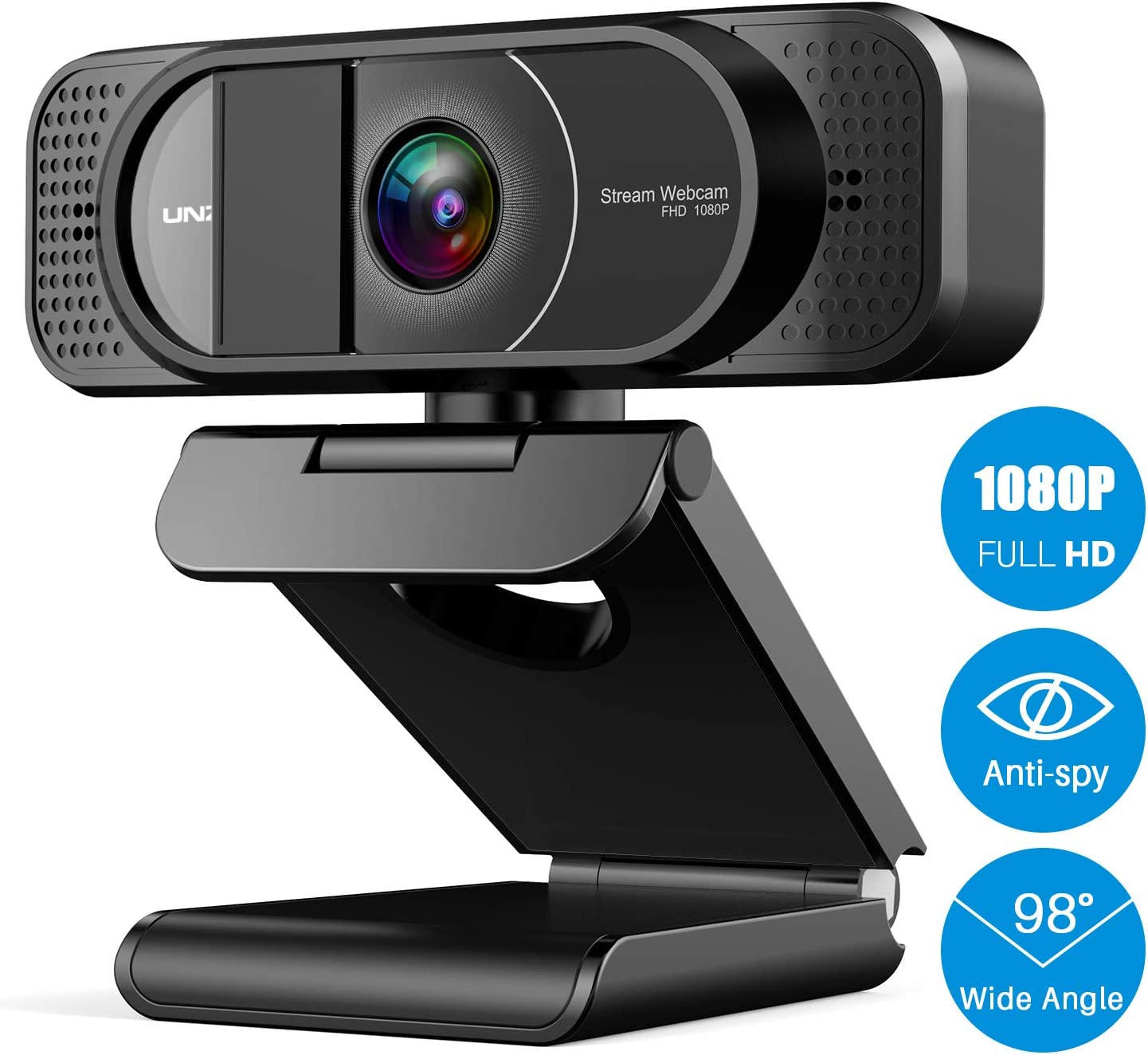 Webcam with Microphone, Full HD Webcam 1080P with Privacy Cover, Desktop or Laptop USB Webcam with 98-Degree Wide Angle for Video Calling & Recording, Conferencing