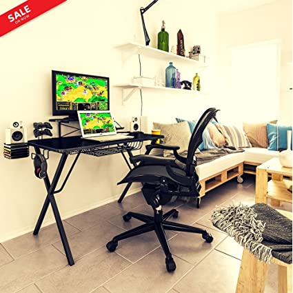 Pleasing Amazon Com Compact Gaming Computer Desk Pro Gamers Carbon Caraccident5 Cool Chair Designs And Ideas Caraccident5Info