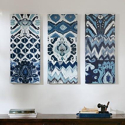 Amazon.com: Flourish Ikat Gel Coat Canvas 3pcs Set Blue: Wall Art
