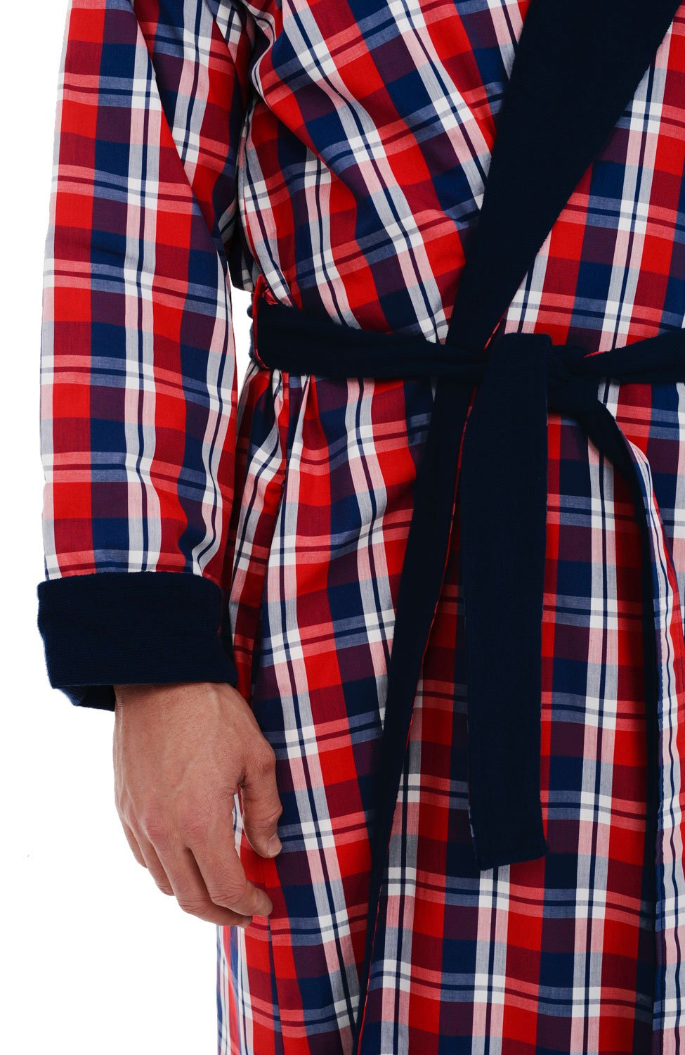 Alexander Del Rossa Del Rossa Mens Turkish Terry Cloth Robe, Woven Shell Long Bathrobe, Blue and Red Plaid Large XL (A0140P40XL) by Alexander Del Rossa (Image #3)