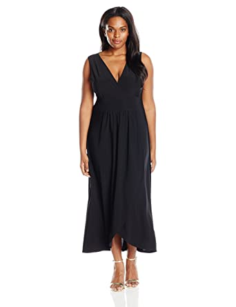 197847732481 Star Vixen Women's Plus-Size Sleeveless Surplice Tulip Skirt Empire Band Maxi  Dress, Black