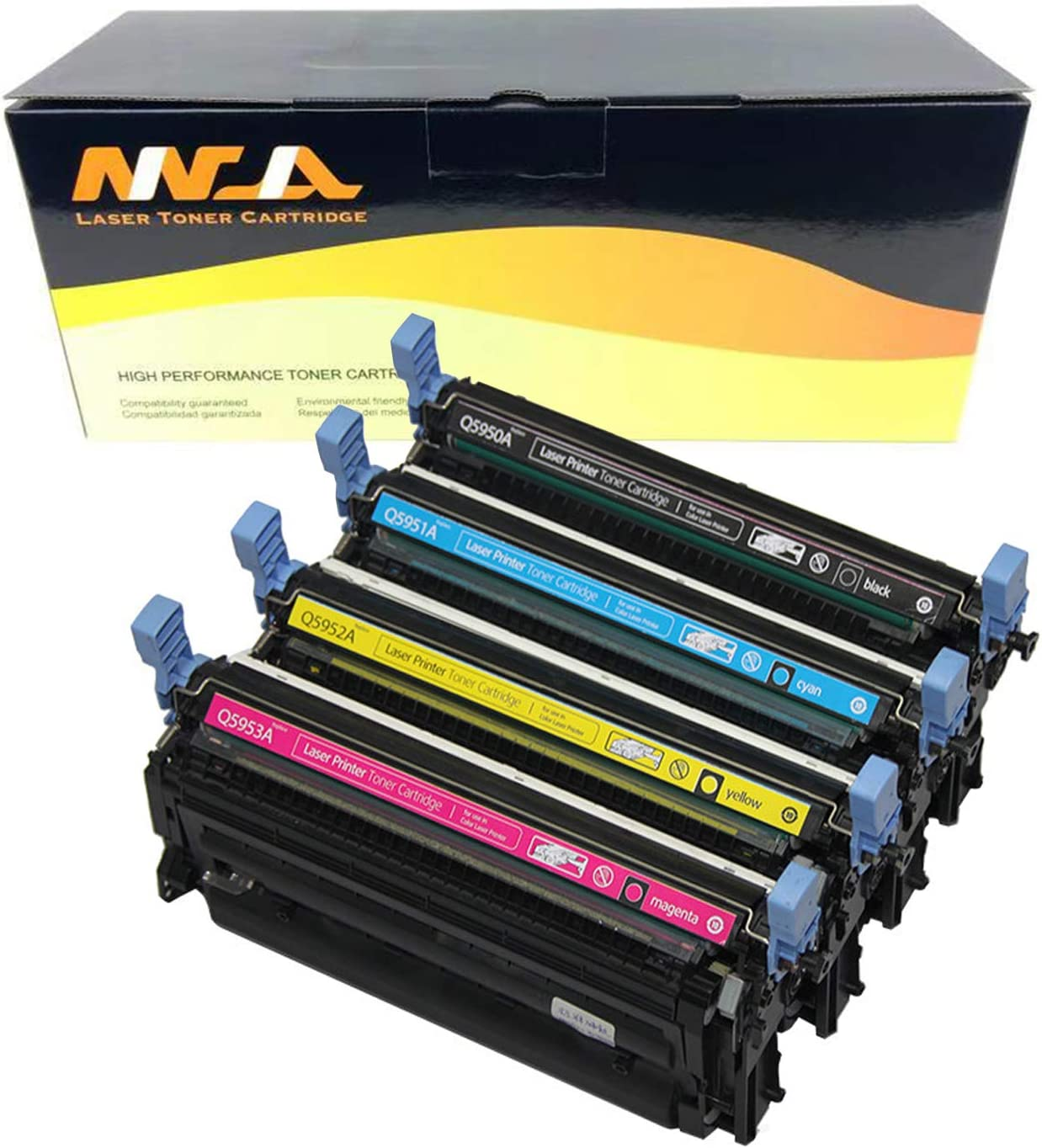 Ninjatoner Compatible Toner Cartridge Replacement for HP 643A Q5950A Q5951A Q5952A Q5953A Used in Color Laserjet 4700 4700DN 4700DTN 4700N 4700PH+ BKCMY, 4 Pack