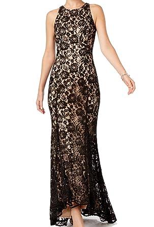 b00d0979 Vince Camuto Beige Womens Sequin Lace Godet Pleat Gown Black 6 at ...