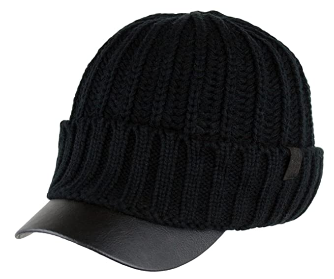 0b29255afd980 Men s Winter Visor Beanie Knitted Hat With Faux Leather Brim (BLACK ...