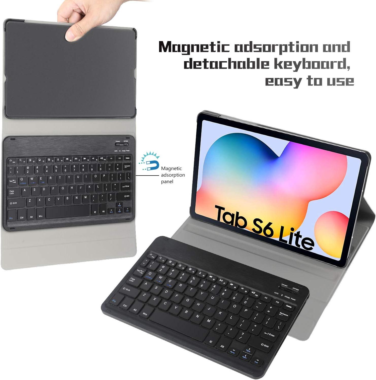 QWERTY English Black IVSO Tastiera Custodia per Samsung Galaxy Tab S6 lite Slim Custodia in pelle PU con Rimovibile Wireless Tastiera per Samsung Galaxy Tab S6 lite 10.4 Pollici 2020