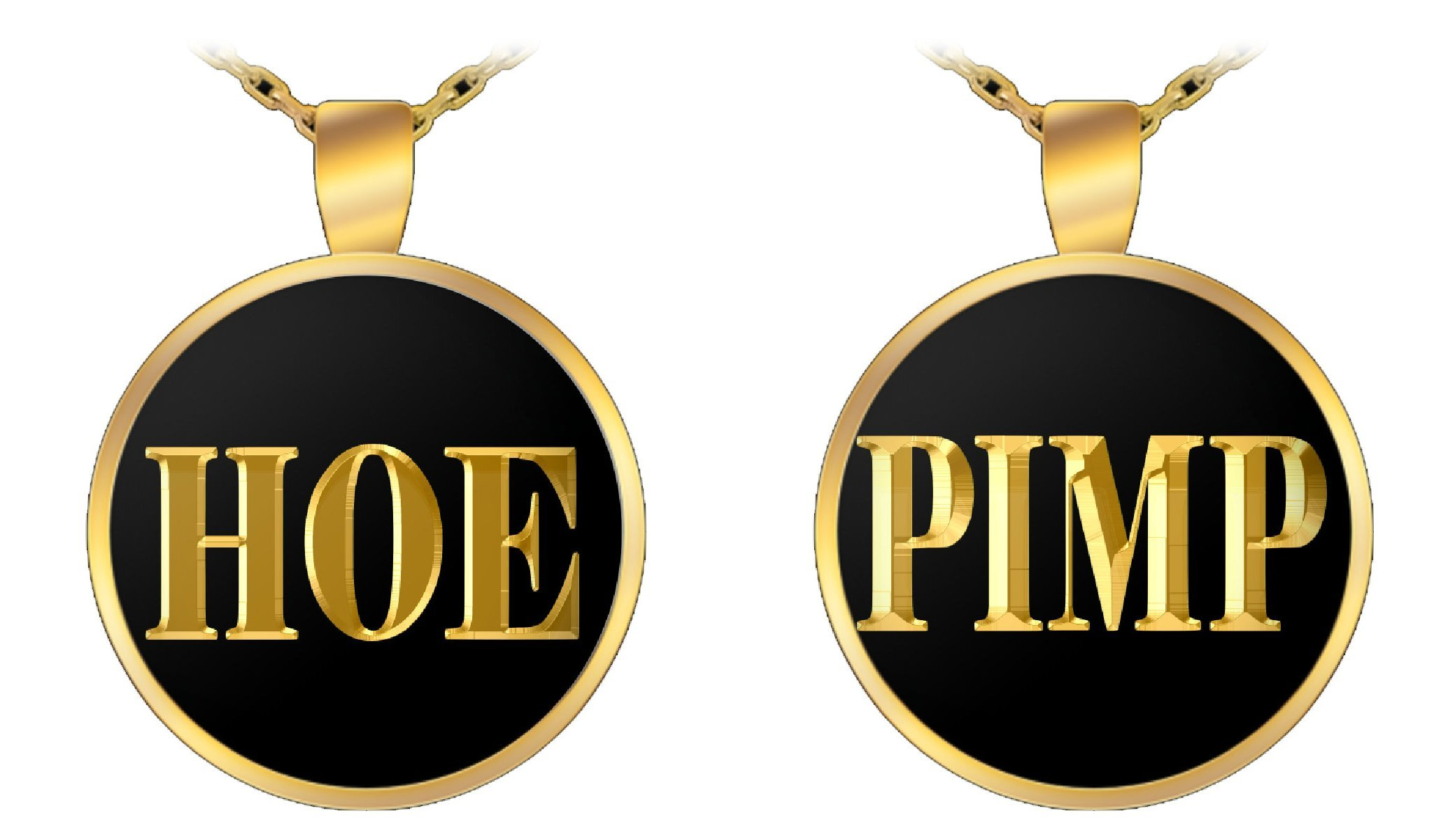 Couples Necklace Pendant Set - Pimp & Hoe – 22' Gold Plated Chain - UV Resistant and Water Resistant - Made in America
