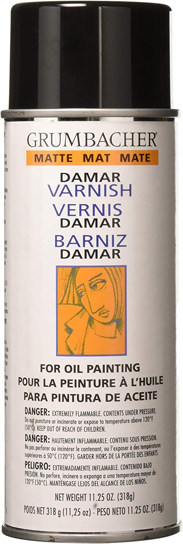 Grumbacher Damar Matte Varnish Spray For Oil Painting, 11.25 oz Can