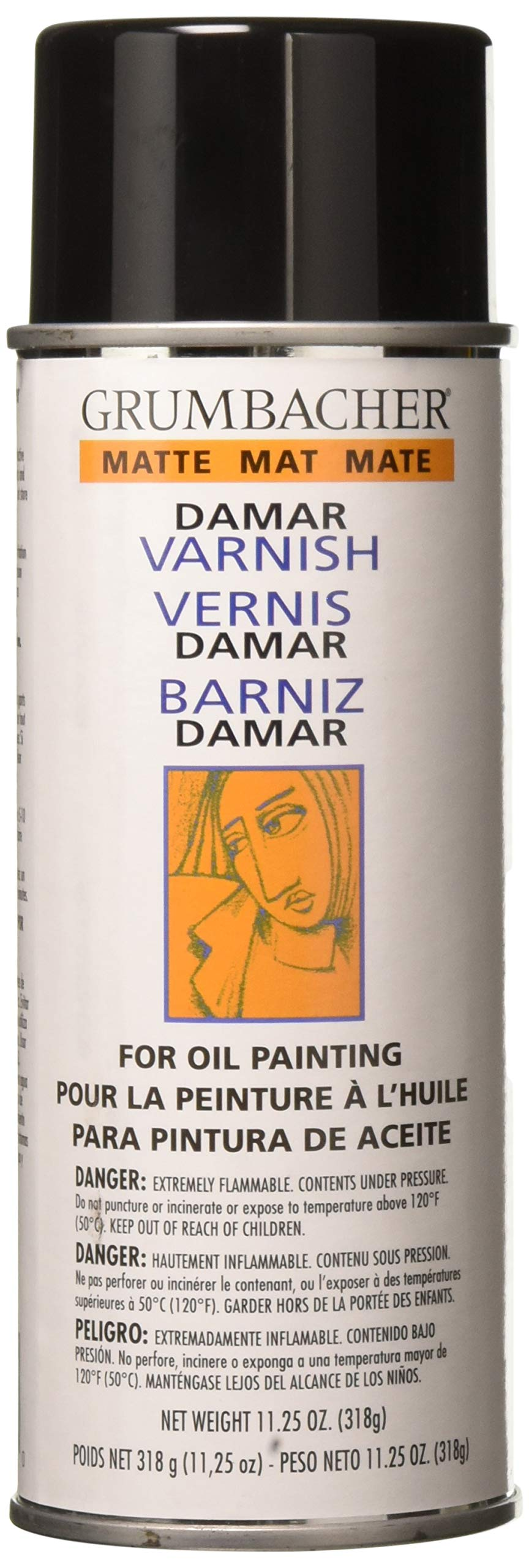 Grumbacher Damar Matte Varnish Spray For Oil Painting, 11.25 oz Can