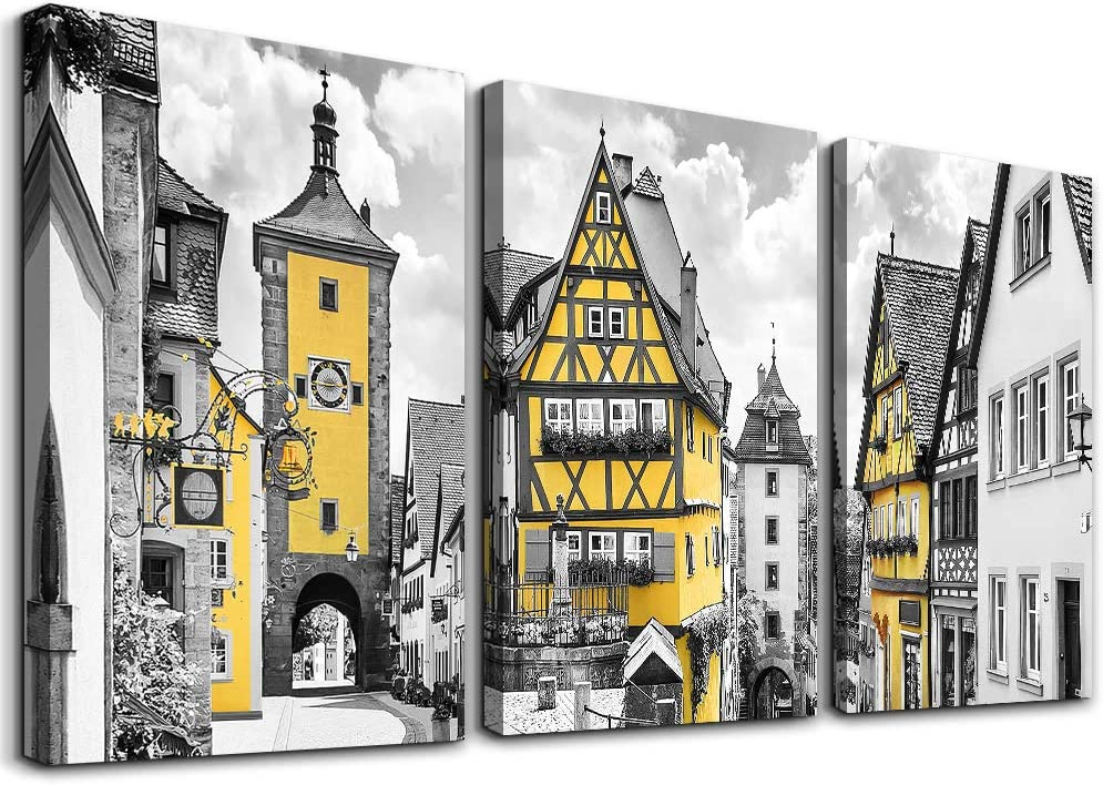 Black and white Canvas Wall Art for living room Yellow city street painting 3 piece Wall Decor for bedroom office Home Decor art Hanging pictures wall decorations for bathroom farmhouse wall art