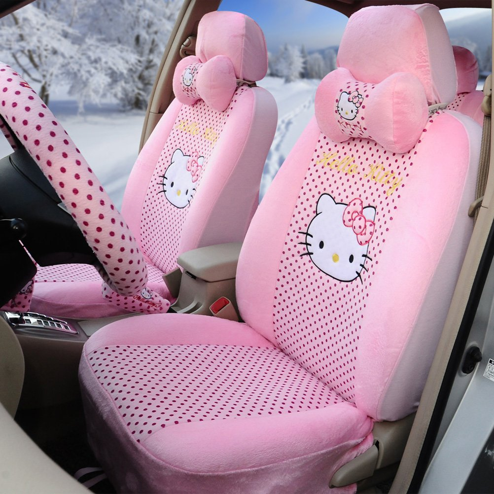 Amazon Hello Kitty Universal Car Five Seat Covers Steering Wheel Cover Automotive Pink Home Improvement