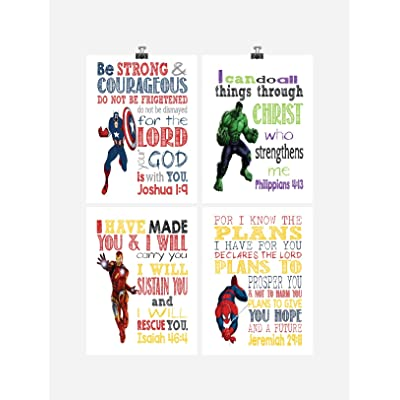Superhero Inspirational Nursery Decor Art Set of 4 Prints - Captain America, Hulk, Ironman and Spiderman: Handmade